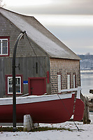 Amérique/Amérique du Nord/Canada/Québec/ Env de Québec/Île d'Orléans/Saint-Laurent-de-l'Île-d'Orléans: Parc maritime de Saint-Laurent - Le Chantier maritime de Saint-Laurent fabriquait des goélettes de bois pour la marine canadienne