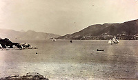 BNPS.co.uk (01202 558833)<br /> Pic: DominicWinterAuction/BNPS<br /> <br /> Yacht race in Hong Kong harbour.<br /> <br /> Revealed - A fascinating photo album from the very early days of British Hong Kong...long before the skyscrapers covered it over.<br /> <br /> The 150 year old photos of Hong Kong taken by one of the first British photographers to venture to the Far East have emerged for sale for £15,000.<br /> <br /> John Thomson, who was also a geographer, left Edinburgh for Singapore in 1862 and spent the following decade travelling the region.<br /> <br /> He explored a decidely low-rise Hong Kong from 1868 to 1870, taking numerous pictures of the rapidly expanding settlement and its industrious inhabitants.<br /> <br /> They capture the area, which is currently engulfed in unrest and protest, at a far more tranquil time.<br /> <br /> The photos are being sold with auction house Dominic Winter, of Cirencester, Gloucs.