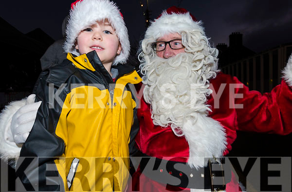 Jim O'Connor from Dingle with Santa during Féile na Soilse in Dingle on Sunday evening.