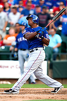 "Texas Rangers third baseman Adrian Beltre #29 admires his first inning home run during the MLB exhibition baseball game against the ""AAA"" Round Rock Express on April 2, 2012 at the Dell Diamond in Round Rock, Texas. The Rangers out-slugged the Express 10-8. (Andrew Woolley / Four Seam Images)."