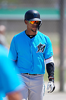 Miami Marlins centerfielder Víctor Víctor Mesa (32) during a Minor League Spring Training game against the New York Mets on March 27, 2019 at the Roger Dean Stadium Complex in Jupiter, Florida.  (Mike Janes/Four Seam Images)
