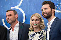 Liev Schreiber, Naomi Watts, Andrea Iervolino  at the photocall for The Bleeder at the 2016 Venice Film Festival.<br /> September 2, 2016  Venice, Italy<br /> CAP/KA<br /> &copy;Kristina Afanasyeva/Capital Pictures /MediaPunch ***NORTH AND SOUTH AMERICAS ONLY***