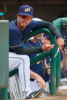 Montgomery Biscuits manager Brady Williams (22) in the dugout during a game against the Biloxi Shuckers on May 8, 2018 at Montgomery Riverwalk Stadium in Montgomery, Alabama.  Montgomery defeated Biloxi 10-5.  (Mike Janes/Four Seam Images)