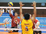 November 18 2011 - Guadalajara, Mexico:  Jose Rebelo of Team Canada serves against Columbia in the Bronze Medal Game in the Pan American Volleyball Complex at the 2011 Parapan American Games in Guadalajara, Mexico.  Photos: Matthew Murnaghan/Canadian Paralympic Committee