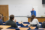 Professor Breese Quinn kicks off his winter intercession physics 107 class.  Photo by Kevin Bain/University Communications Photography