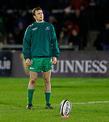 9th February 2018, Galway Sportsground, Galway, Ireland; Guinness Pro14 rugby, Connacht versus Ospreys; Jack Carthy (Connacht) practices his kicking during the warm up