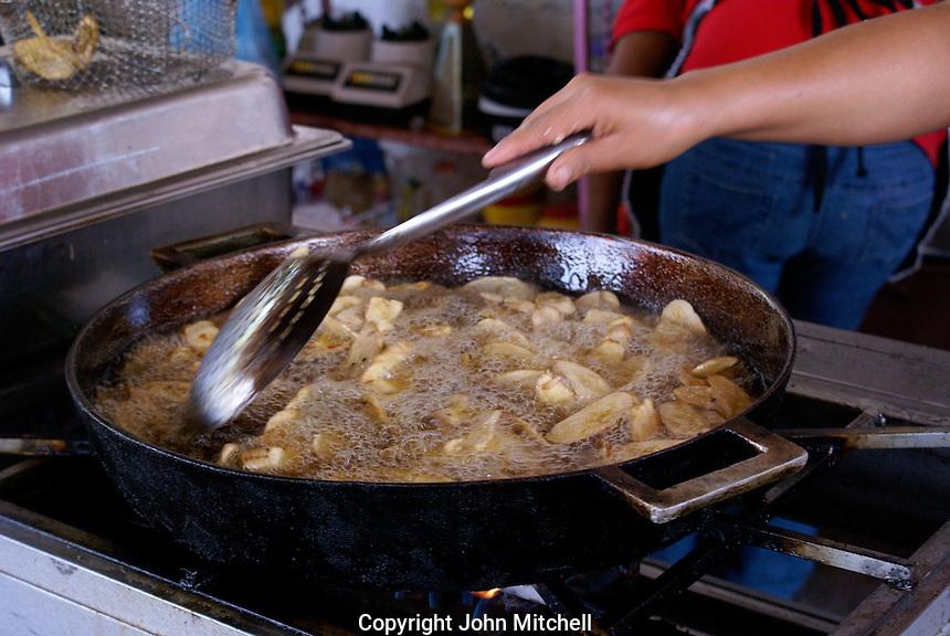 Plantains being fried in a restaurant, Santa Rosa de Copan, Honduras.