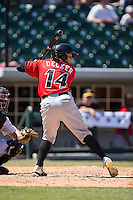Jaff Decker (14) of the Indianapolis Indians at bat against the Charlotte Knights at BB&T BallPark on June 21, 2015 in Charlotte, North Carolina.  The Knights defeated the Indians 13-1.  (Brian Westerholt/Four Seam Images)