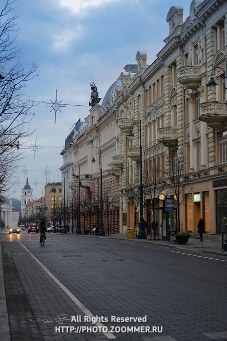 Architecture of Vilnius main street -Gediminas Avenue, Lithuania