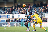 Marcus Bean of Wycombe Wanderers holds off Ollie Clarke of Bristol Rovers    during the Sky Bet League 2 match between Wycombe Wanderers and Bristol Rovers at Adams Park, High Wycombe, England on 27 February 2016. Photo by Andy Rowland.