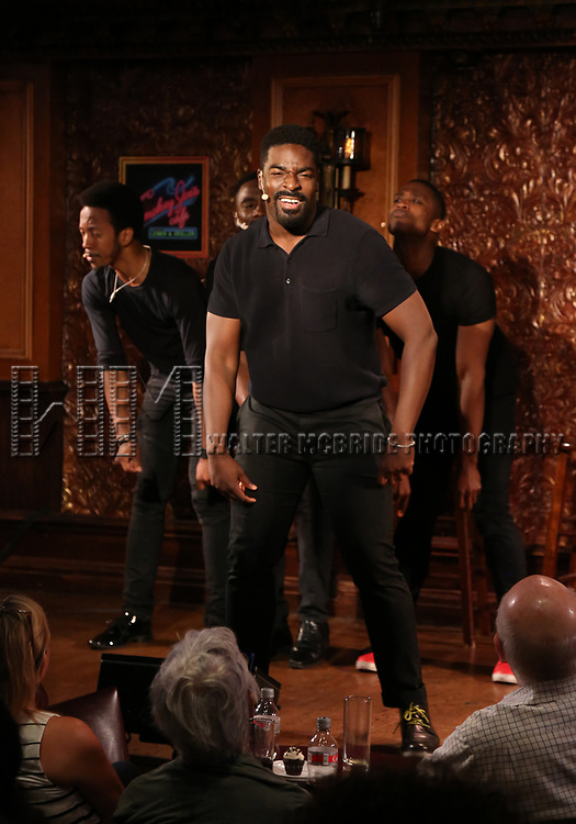 Kyle Taylor Parker and cast during the Press Preview Presentation for the new production of 'Smokey Joe's Cafe' at Feinstein's/54 Below on June 27, 2018 in New York City.