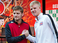 Gent, Belgium, November 26, 2015, Tennis,Davis Cup Final, Belgium-Great Britain, draw ceremonie, First match on friday David Goffin (BEL) -Kyle Edmund (R)<br /> Photo: Tennisimages/Henk Koster