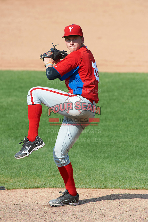 Jesse Roth #16 of the Harace Mann School in Oradell, New Jersey playing for the Philadelphia Phillies scout team during the East Coast Pro Showcase at Alliance Bank Stadium on August 4, 2012 in Syracuse, New York.  (Mike Janes/Four Seam Images)