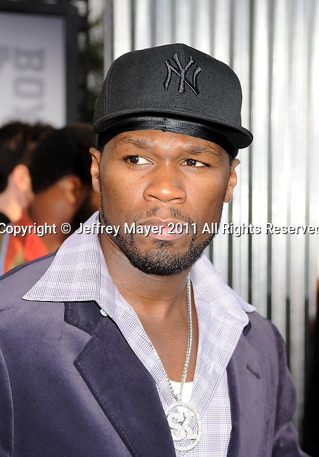 """UNIVERSAL CITY, CA - OCTOBER 02: Curtis '50 Cent' Jackson attends the """"Real Steel"""" Los Angeles Premiere at Gibson Amphitheatre on October 2, 2011 in Universal City, California."""