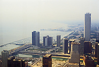 Chicago: Panorama from Hancock, looking southeast to Lakefront. Photo '88.
