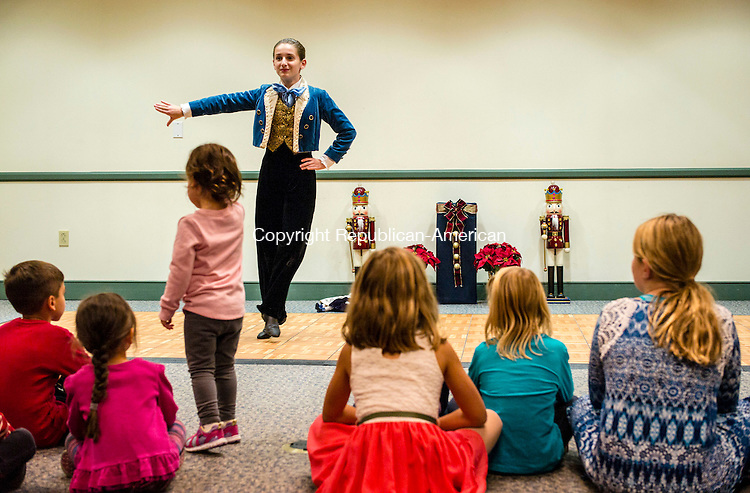 "Southbury, CT- 18 November 2016-111816CM02-  Sabrina Tevolini portrays ""Fritz"" during a preview of Woodbury Main Street Ballet's ""The Nutcracker"" at the Southbury Public Library on Friday.  The production will run at Pomperaug High School December 3rd and 4th.    Christopher Massa Republican-American"