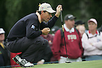 Padraig Harrington lines up his putt on the 6th green during the 3rd round of the BMW PGA Championship at Wentworth Club, Surrey, England 26th may 2007 (Photo by Eoin Clarke/NEWSFILE)