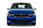 Car photography straight front view of a 2015 Skoda Fabia Ambition 5 Door Hatchback Front View