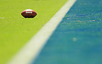 Sep. 20, 2009; San Diego, CA, USA; Detail view of a Wilson football sitting on the field during the game between the San Diego Chargers against the Baltimore Ravens at Qualcomm Stadium in San Diego. Baltimore defeated San Diego 31-26. Mandatory Credit: Mark J. Rebilas-