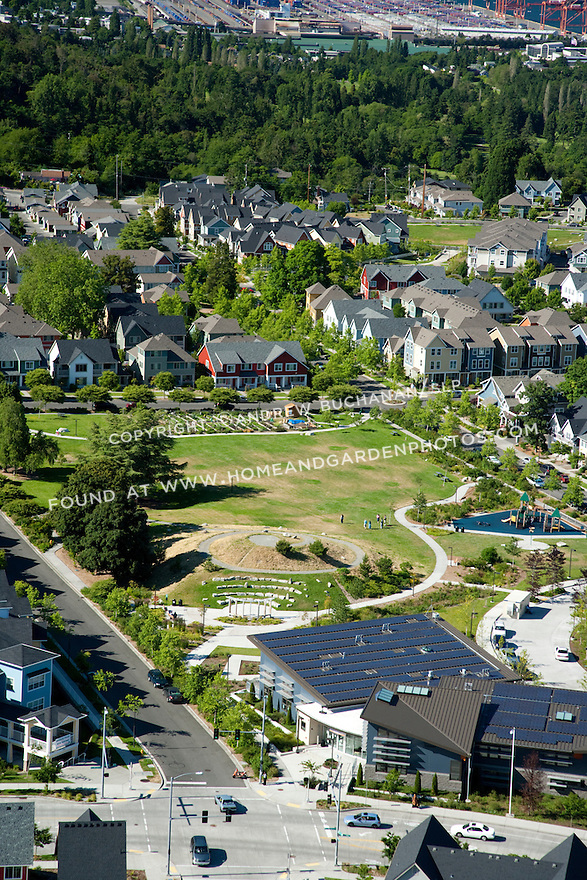 High Point, West Seattle, WA; An aerial view of housing and community park at High Point, a mixed housing development in West Seattle.