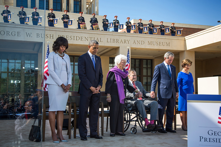 President Barack Obama stands with former presidents, from second from left, George W. Bush, Bill Clinton, George H.W. Bush, and Jimmy Carter at the dedication of the George W. Bush presidential library on the campus of Southern Methodist University in Dallas.