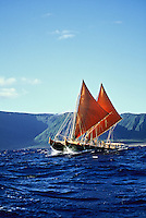 Polynesian voyaging canoe Hawai'iloa, Kalaupapa, north shore of Moloka'i.