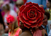 LOUISVILLE, KY - MAY 04: A woman wears a rose-shaped hat on Kentucky Oaks Day at Churchill Downs on May 4, 2018 in Louisville, Kentucky. (Photo by Eric Patterson/Eclipse Sportswire/Getty Images)