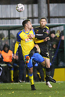 Lionel Stone of Haringey and Scott Wagstaff of Wimbledon during Haringey Borough vs AFC Wimbledon, Emirates FA Cup Football at Coles Park Stadium on 9th November 2018