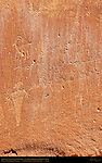 Fremont Culture Petroglyphs, Anthropomorphs in Headdresses and Bighorn Sheep, Fruita Petroglyph Panels, Capitol Reef National Park, South-Central Utah