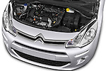 Car Stock 2014 Citroen C3 Seduction 5 Door Hatchback 2WD Engine high angle detail view