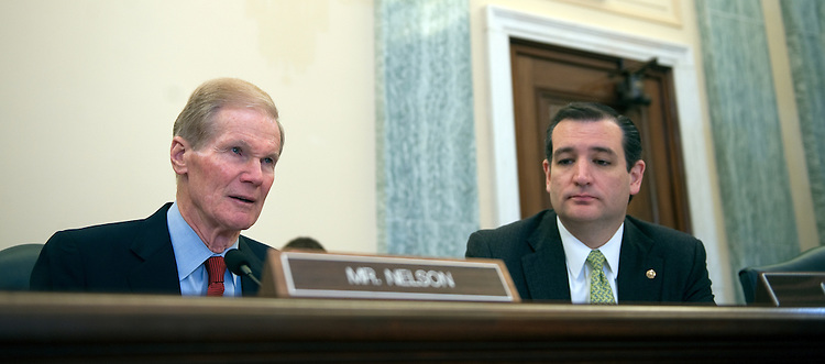 UNITED STATES - MARCH 20: Sen. Ben Nelson, D-FL., and Sen. Ted Cruz, R-Texas, during the Subcommittee on Science and Space hearing on space threats risks/solutions on March 20, 2013. (Photo By Douglas Graham/CQ Roll Call)