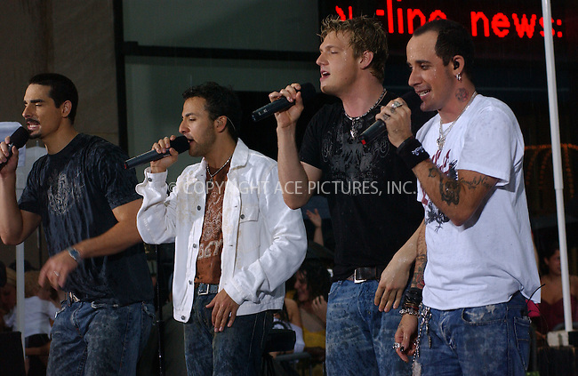 WWW.ACEPIXS.COM . . . . . ....NEW YORK, NEW YORK, JUNE 10TH 2005....The Backstreet Boys perform live in the pouring rain on the Today Show.....Please byline: KRISTIN CALLAHAN - ACE PICTURES.. . . . . . ..Ace Pictures, Inc:  ..Craig Ashby (212) 243-8787..e-mail: picturedesk@acepixs.com..web: http://www.acepixs.com