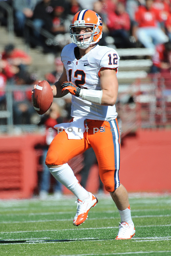 University of Syracuse Orangemen quarterback  Ryan Nissib (12) during game against Rutgers University Scarlet Knights played at High Point Solutions Stadium on Saturday, October 13, 2012 in Piscataway, NJ. Rutgers defeated Syracuse 23-15.
