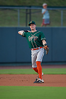 Greensboro Grasshoppers third baseman Michael Gretler (19) throws to first base during a South Atlantic League game against the Delmarva Shorebirds on August 21, 2019 at Arthur W. Perdue Stadium in Salisbury, Maryland.  Delmarva defeated Greensboro 1-0.  (Mike Janes/Four Seam Images)