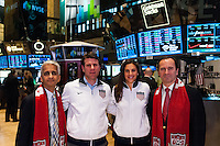 U.S. Soccer president Sunil Gulati, former U.S. Men's National Team star Jeff Agoos, U.S. women national team midfielder Carli Lloyd, and New York Red Bulls General Manager Jerome de Bontin during the centennial celebration of U. S. Soccer at the New York Stock Exchange in New York, NY, on April 02, 2013.