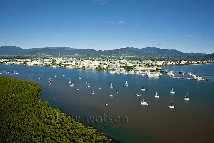 Aerial view of yachts on Trinity Inlet and city centre.  Cairns, Queensland, Australia