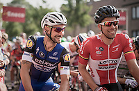 A cheerful Tom Boonen (BEL/Etixx-QuickStep) &amp; Jens Debusschere (BEL/Lotto-Soudal) at the start. <br /> The smile would disappear later in the race for Boonen as he would crash, hurting his wrist and forcing him to abandon the race (&amp; thus putting his final World Championship preperations in jeopardy)<br /> <br /> <br /> 12th Eneco Tour 2016 (UCI World Tour)<br /> stage 4: Aalter - St-Pieters-Leeuw (202km)