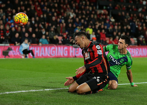 01.03.2016. Vitality Stadium, Bournemouth, England. Barclays Premier League. Bournemouth versus Southampton. Bournemouth Forward Joshua King is brought down just outside the Southampton area by Southampton Defender José Fonte, as the ball goes out for a corner