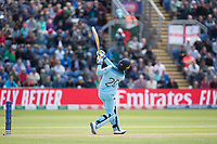 Jason Roy (England) goes high over mid wicket for his second successive six of Mehedi Hasan Miraz (Bangladesh) during England vs Bangladesh, ICC World Cup Cricket at Sophia Gardens Cardiff on 8th June 2019