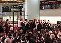 December 30, 2016, Tokyo, Japan - Japan Exchange Group members clap their hands during a ceremony to celebrate the last trading day of 2016 at the Tokyo Stock Exchange on Friday, December 30, 2016. Japan's share prices fell 30.77 yen to close at 19,114.37 yen at the Tokto Stock Exchange, but finished the highest close in 20 years for the last day trading of the year.  (Photo by Yoshio Tsunoda/AFLO) LWX -ytd-