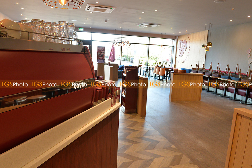 A deserted branch of Costa Coffee in Waltham Abbey during the COVID-19 pandemic on 22nd March 2020