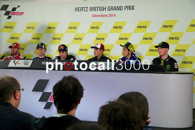 hertz british grand prix during the world championship 2014.<br /> Silverstone, england<br /> August 28, 2014. <br /> cal cruchtlow<br /> jorge lorenzo<br /> dani pedrosa<br /> marc marquez<br /> valentino rossi<br /> bradley smith<br /> PHOTOCALL3000/ RME