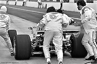 HAMPTON, GA - APRIL 22: Tom Bagley (#11 Penske PC6/Cosworth TC) is pushed out of the pit box and back into the race during the Gould Twin Dixie 125 event on April 22, 1979, at Atlanta International Raceway near Hampton, Georgia.