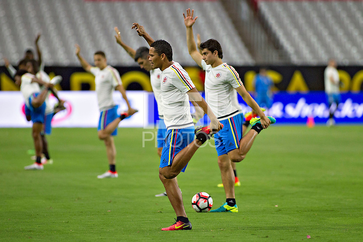 Action photo during training of the Colombia team before the game against the selection of United States for third place in the Copa America Centenario 2016 at University of Phoenix Stadium<br /> <br /> Foto de accion durante el Entrenamiento de la Seleccion de Colombia previo al partido contra la Seleccion de Estados Unidos por el tercer lugar de la Copa America Centenario 2016, en el Estadio de la Universidad de Phoenix, en la foto:  Carlos Bacca<br /> <br /> <br /> 24/06/2016/MEXSPORT/Victor Posadas.