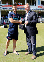 Heino Kuhn (L) receives his county cap from Paul Downton during the County Championship Division 2 game between Kent and Middlesex at the St Lawrence Ground, Canterbury, on June 25, 2018