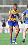 Chibby Okoye of Clare celebrates a score by a team mate during their Munster Minor football semi-final against Tipperary at Thurles. Photograph by John Kelly.