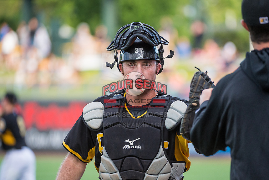 Charlie Cutler (37) of the Salt Lake Bees before the game against the Albuquerque Isotopes in Pacific Coast League action at Smith's Ballpark on June 8, 2015 in Salt Lake City, Utah. The Isotopes defeated the Bees 8-7 in game two of a double-header.  (Stephen Smith/Four Seam Images)
