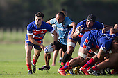 Daniel Kidd looks to get the ball away to the backline from a scrum. Counties Manukau Premier Club Rugby game between Ardmore Marist and Weymouth, played at Bruce Pulman Park on May 14th 2016. Ardmore Marist won the game 43 - 7 after leading 17 - 0 at halftime. Photo by Richard Spranger.