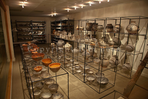 Pottery collection on display in museum at Edge of the Cedars State Park, Blanding, Utah, AGPix_1912