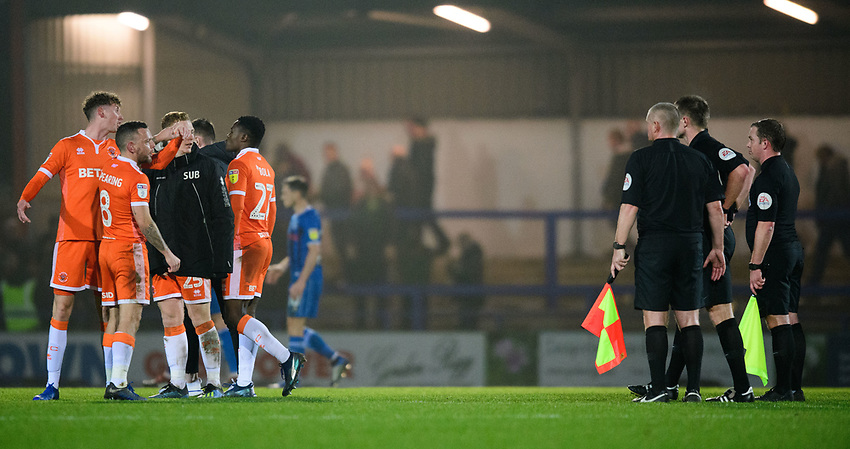Blackpool's Joe Bunney, left, Jay Spearing, centre, and Blackpool's Callum Guy speak to Referee Thomas Bramall at the end of the game<br /> <br /> Photographer Chris Vaughan/CameraSport<br /> <br /> The EFL Sky Bet League One - Rochdale v Blackpool - Wednesday 26th December 2018 - Spotland Stadium - Rochdale<br /> <br /> World Copyright © 2018 CameraSport. All rights reserved. 43 Linden Ave. Countesthorpe. Leicester. England. LE8 5PG - Tel: +44 (0) 116 277 4147 - admin@camerasport.com - www.camerasport.com